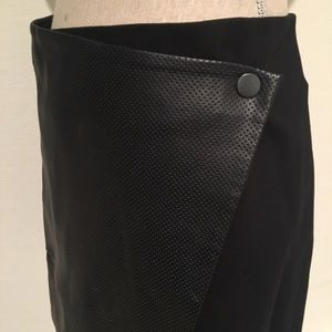 Club Monaco faux leather perforated wrap skirt 00